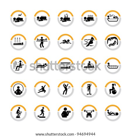 Set of signs for Spa, Wellness and Fitness in semicircles - stock vector