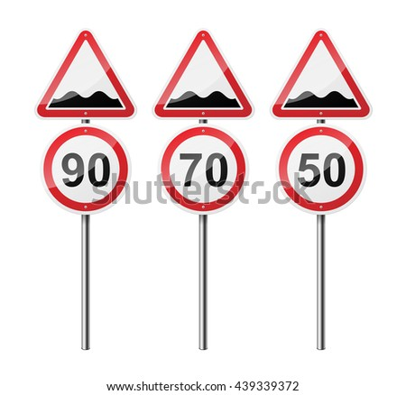 Set of 3 signs, isolated on white background. Rough roads. Speed limit. EPS10 vector illustration. - stock vector
