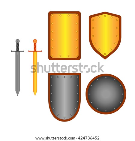 Set of signs shield & sword. Combat icon isolated on white background. Silver & gold images. Mark with volume effect. Symbol of a metal elements. Logo for military & security. Stock vector ilustration - stock vector