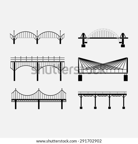 set of silhouette bridge icons bridges,  various types of bridges, fully editable vector images