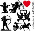 Set of silhouette Cupid vector illustration valentines day cartoon - stock vector