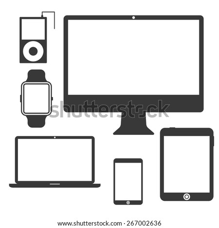 Set of Silhouette Devices. Display, PC, tablet, mobile, watch, smartphone, portable music player. Flat design. Isolated on white background. Vector illustration - stock vector