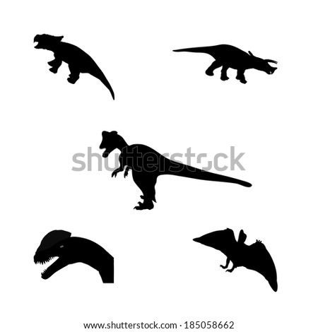 Set of Silhouette Dinosaur. Black Vector Illustration. - stock vector