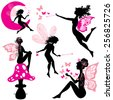 Set of silhouette fairy girls with butterflies and stars isolated on white background - stock vector