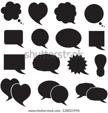 Set of silhouette figured speech bubbles - stock vector