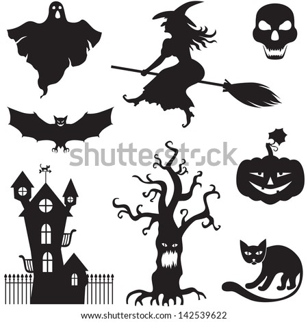 Set of silhouette horror images of a Halloween  - stock vector