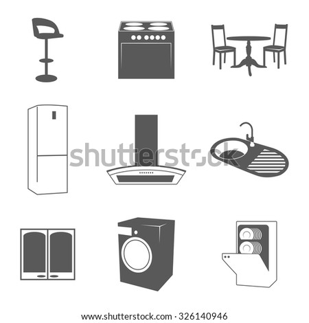 Set of silhouette icons on a theme equipment and furniture for the kitchen  - stock vector