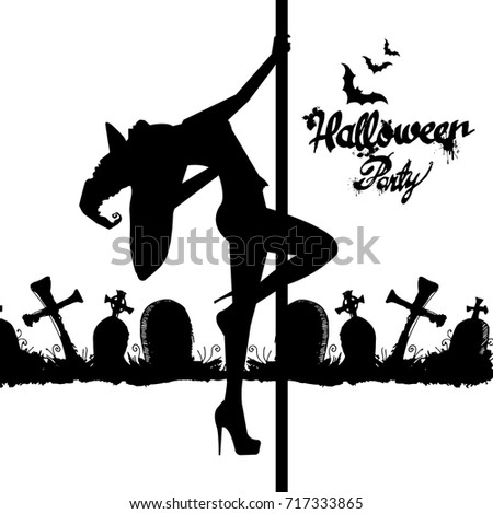 Set Silhouette Image Halloween Witches Witch Stock Vector ...