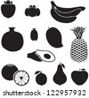 Set of silhouette images of different fruits. Banana, pineapple, mango, fruit icon set. Food icon - stock vector