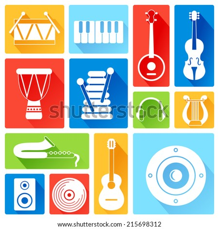 Set of silhouette musical instruments. Flat style - stock vector