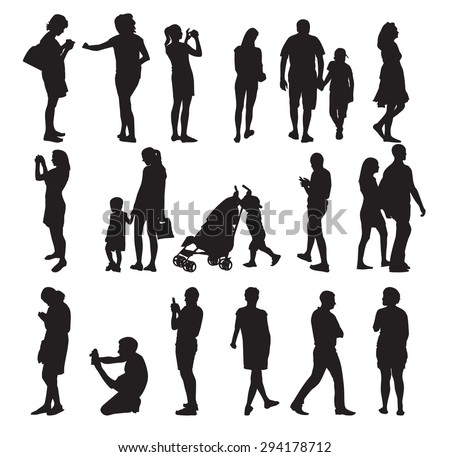 Set of Silhouette People. Vector Illustration. EPS10 - stock vector