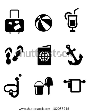 Set of silhouette summer vacation and travel icons depicting luggage,beach ball, cocktail drink, thongs, ticket, passport, anchor, snorkeling, bucket and spade - stock vector