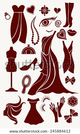 set of silhouette vector drawings of women's fashion accessories - stock vector