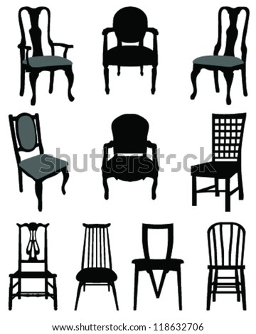 Set of silhouettes chairs-vector - stock vector