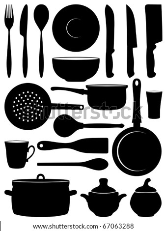 Set of silhouettes dishes. Vector illustration.