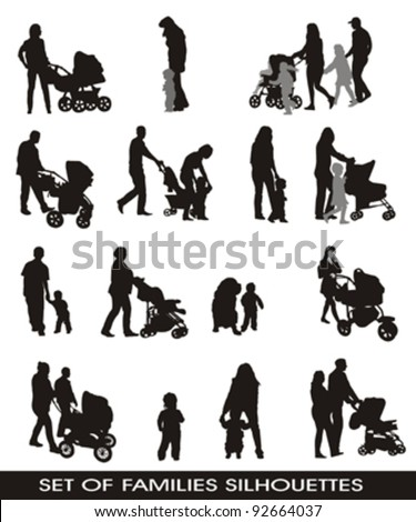 set of silhouettes families, parents and children, isolated on white