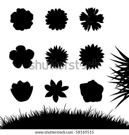 Set of silhouettes flowers isolated on white. Vector illustrations - stock vector