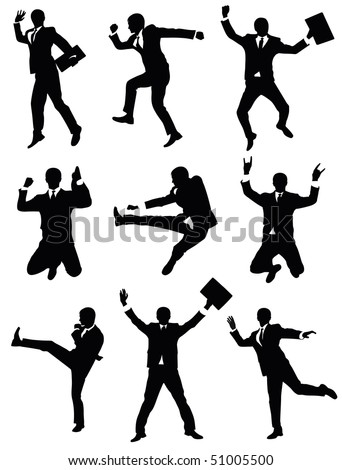 Set of silhouettes of a businessman jumping. - stock vector