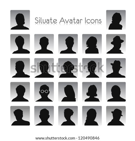Set of silhouettes of avatar - stock vector