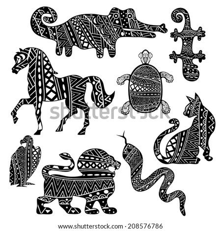 Set of silhouettes of cat, lion, horse, vulture, turtle, snake, lizard and crocodile, ornate with ethnic abstract pattern. Black and white tribal ornament in collection of animals. Vector is EPS8. - stock vector