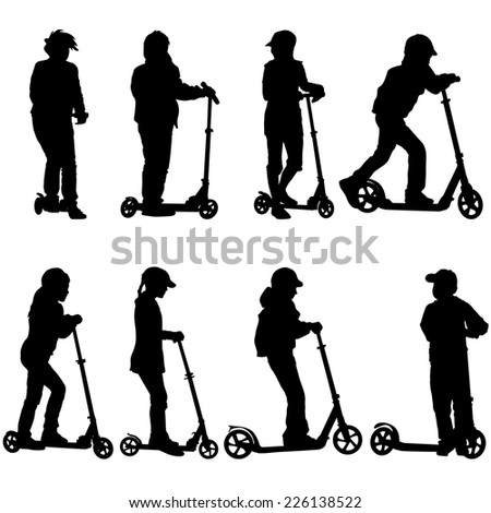Set of silhouettes of children riding on scooters. Vector illustration. - stock vector
