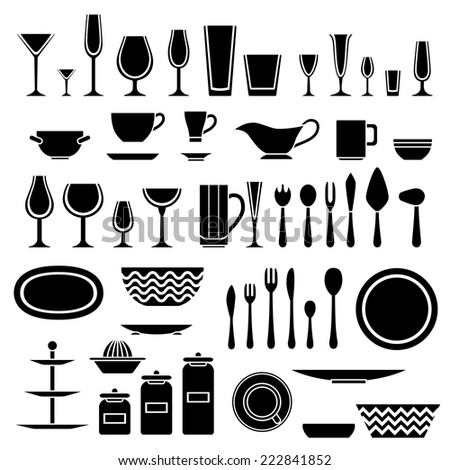 Set Of Silhouettes Of Cookware And Kitchen Accessories. Vector Illustration