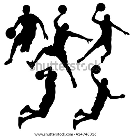 set of silhouettes of dynamic poses basketball players