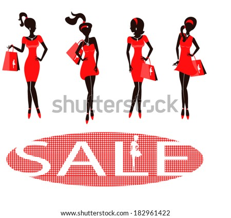 Set of silhouettes of fashionable girls on a white background/ Sale - stock vector
