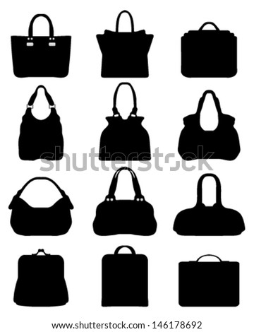 Set of silhouettes of handbags-vector - stock vector
