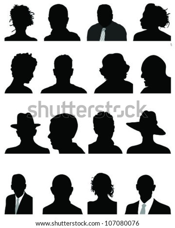 Set of silhouettes of heads in black 4, vector - stock vector
