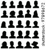 Set of silhouettes of heads 6,vector - stock vector