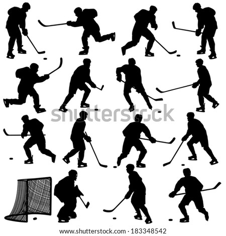 Set of silhouettes of hockey player. Isolated on white. illustrations. - stock vector