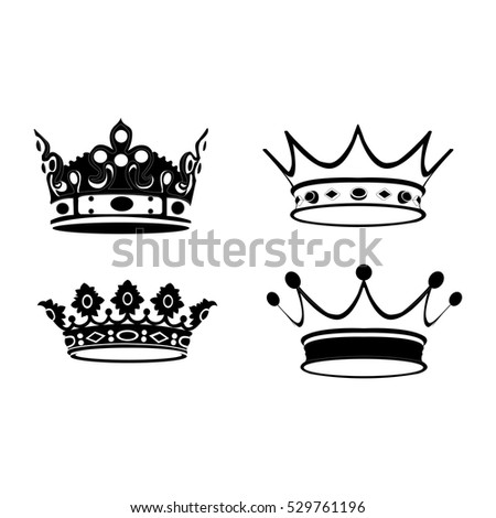 Set of silhouettes of royal crowns, Vector illustration