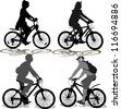 Set of Silhouettes of the cyclist - stock vector
