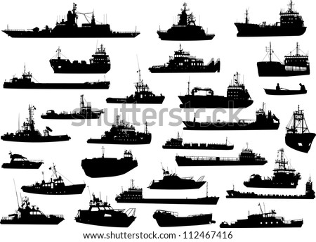 Set of 28 silhouettes of the sea cargo and military ships - stock vector