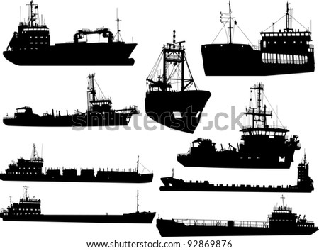 Set of silhouettes of the sea cargo ships - stock vector