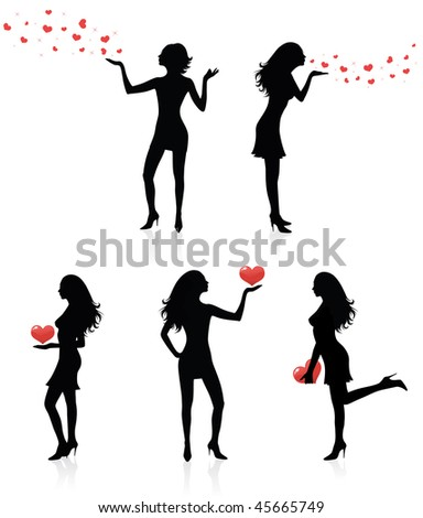 Set of silhouettes of women with hearts. - stock vector