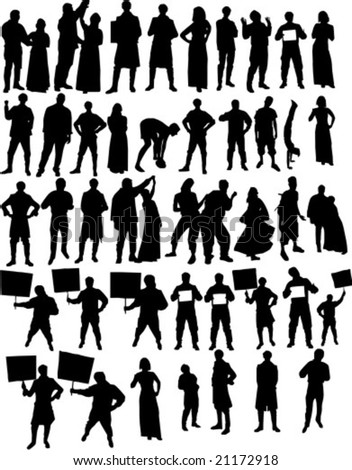 Set of silhouettes people a vector