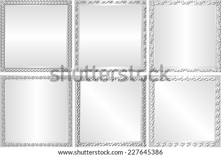 set of silver backgrounds with decorative border - stock vector