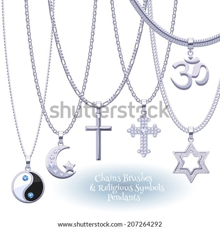 Set of silver chains with religious symbols pendants. Precious necklaces. Include chains brushes. - stock vector