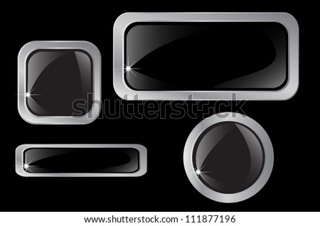 Set of silver, chrome buttons, icons Vector - stock vector