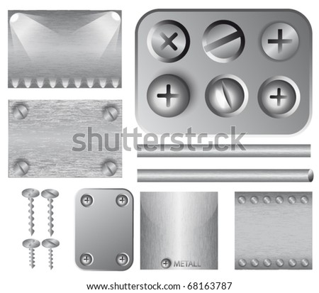 Set of silver vector backgrounds with lighting effect, screws and rivets. Easy to change. - stock vector