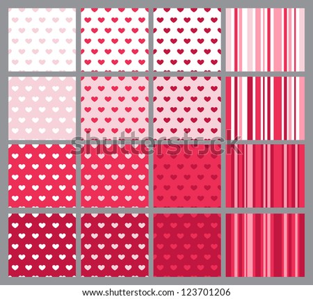 Set of 12 similar seamless patterns with hearts and 4 striped companions - stock vector