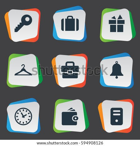 Set Of 9 Simple Accessories Icons. Can Be Found Such Elements As System Unit, Briefcase, Time And Other.