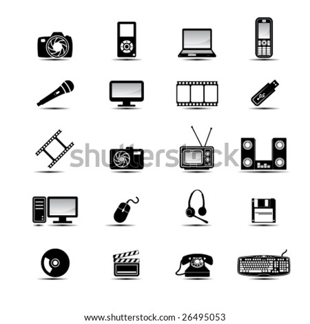 Set of simple black and white multimedia icons - stock vector