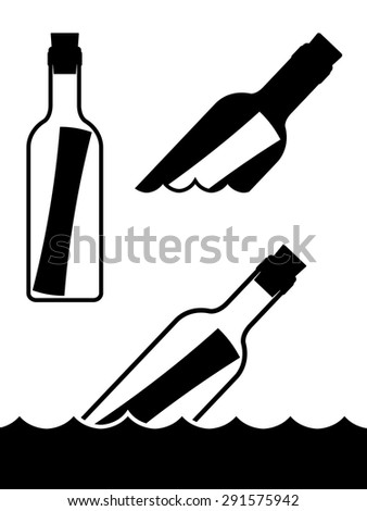 Set of simple black and white vector messages in bottles standing upright and floating on the ocean waves symbolic of a shipwreck, marooned or love and romance - stock vector