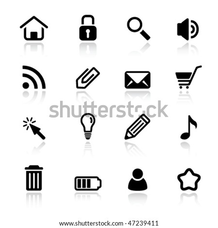 Set of simple black and white web icons - stock vector