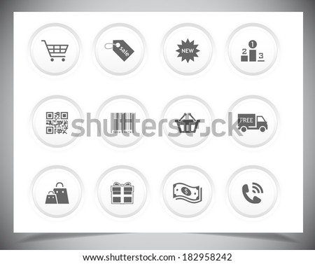 Set of simple black Shopping icons. Vector illustration - stock vector