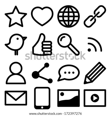 Set of simple black social media icons