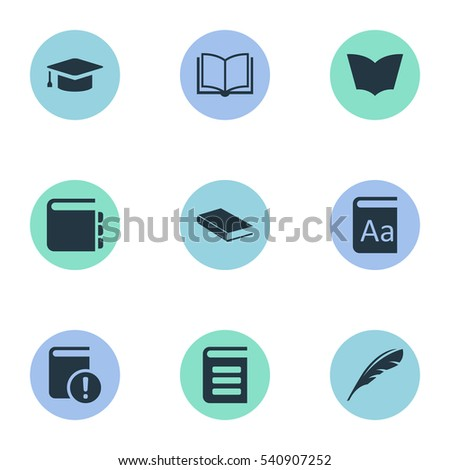 Set Of 9 Simple Books Icons. Can Be Found Such Elements As Blank Notebook, Important Reading, Plume And Other.